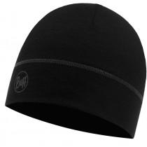 BUFF® LIGHTWEIGHT MERINO WOOL 1 LAYER HAT, Solid Black, Erwachsene, Mütze