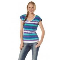 Streifen Shirt, Top, Shirt, T-Shirt für Damen, mint-lila, von AJC Gr.36