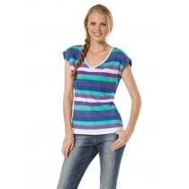 Streifen Shirt, Top, Shirt, T-Shirt für Damen, mint-lila, von AJC Gr.38