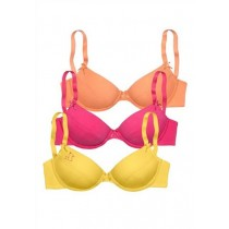 PETITE FLEUR Bügel BH, 70 C, 3er Pack, gelb/orange/pink