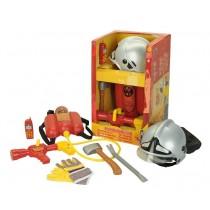Theo Klein 8953 Feuerwehr-Set 6-teilig Helm, Wasserspritze, Handy, Handschuhe, Axt